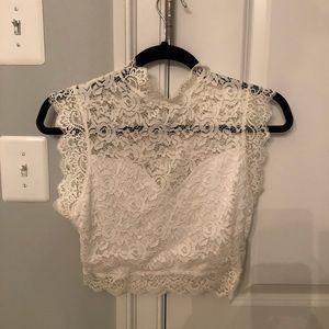 bebe lace crop top